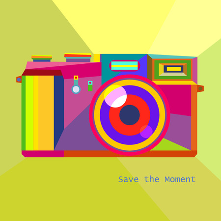 Photo Camera Retro geometric Hipster style trendy colors art technology concept in vector Illustration