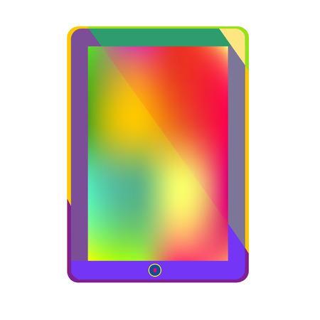 Tablet Computer Bright new Technology and colorful Information world gadget concept on white background in vector Illustration