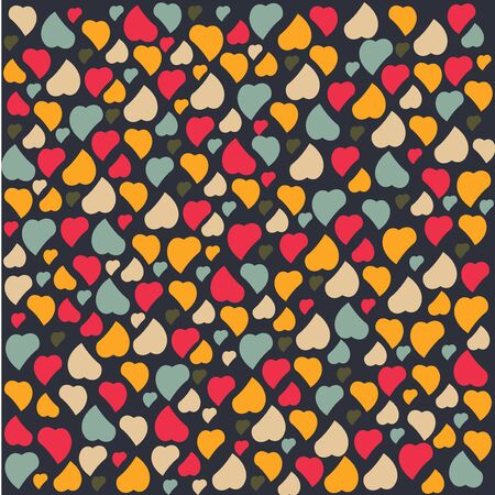 Love Heart Background Pattern Valentines day Greeting card trendy colors Romantic relationship concept in vector Illustration