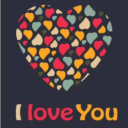 Love Heart Valentines day Greeting card trendy colors Romantic relationship concept in vector Illustration