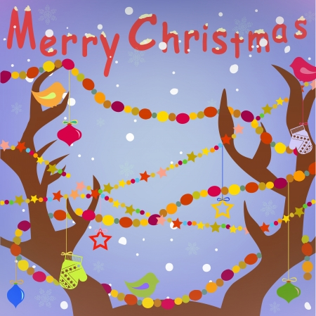 Merry Christmas Greeting card with Deer Antlers and Holiday decoration background trendy colors in vector