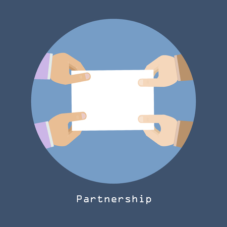 Partnership concept with hands holding contract Business Agreement trendy style in vector Stock Vector - 24056576