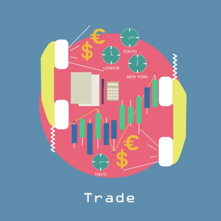 Business Trade around the world Economic concept with graphics and currency symbols and phone trendy style in vector Vector