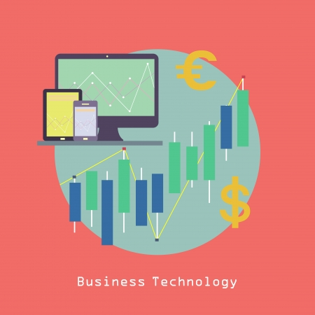 Business Computer Technology with Tablet pc and Smart phone with Financial graphics and currency symbols Communication concept trendy style in vector