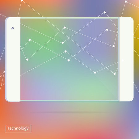 Transparent Tablet PC new Digital Computer Technology Futuristic concept creative design horizontal in vector Illustration