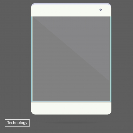 Transparent Tablet PC new Digital Computer Technology Futuristic concept creative design vertical in vector Vector