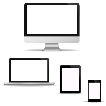 Computer Technology Screen Set - Laptop, Tablet PC, Smart phone new Digital Technology design Office in vector