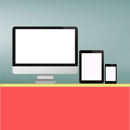 Computer Screen and Tablet PC and Smart phone new Technology concept in vector Vector