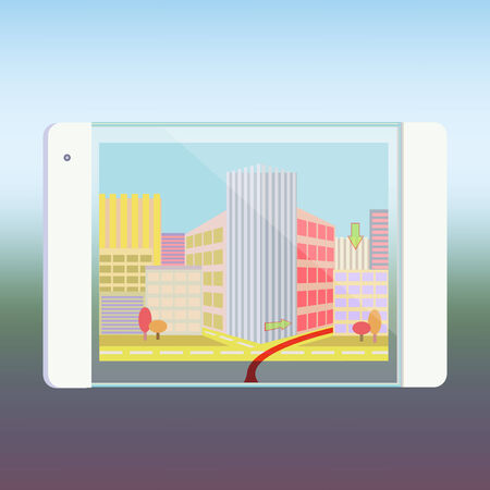 Tablet PC with Navigation Map of city on Screen Computer Technology urban life concept trendy style  Vector
