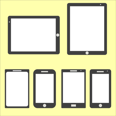 Computer Technology Screen Set - Tablet PC, Smart phone new Digital Technology flat design in vector Vector