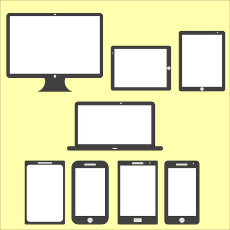 Computer Technology Screen Set - Laptop, Tablet PC, Smart phone new Digital Technology flat design in vector