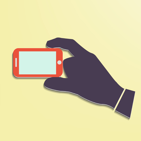 Hand holding Smart phone showing screen New Technology concept trendy style flat design in vector Illustration