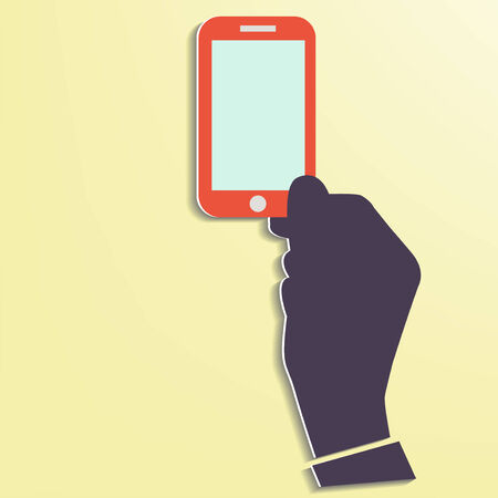 Hand holding Smart phone showing screen New Technology concept trendy style flat design in vector Stock Vector - 24192644