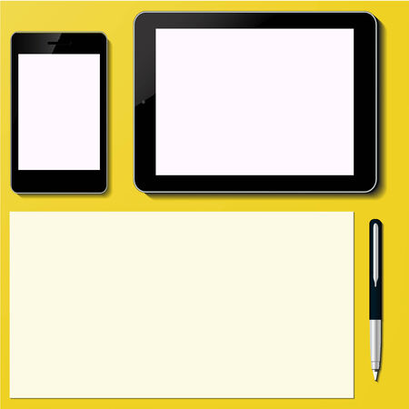 Tablet PC and Smart phone Screen with paper sheet and pen Office desktop Computer Technology concept in vector