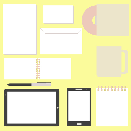 Tablet PC and Smart phone Screen with paper sheets and notebook, disc, cup and pen Office set desktop Computer Technology concept in vector Illustration