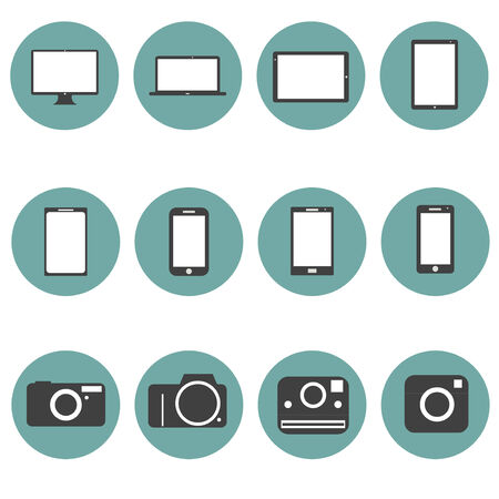 New Technology multimedia Icons Set trendy style flat design in vector Vector