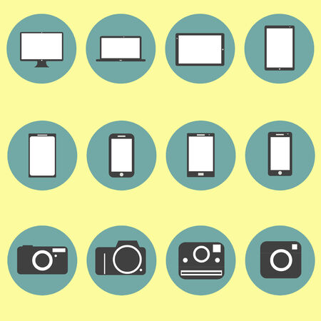 New Technology multimedia Icons Set trendy style flat design in vector Stock Vector - 24192667