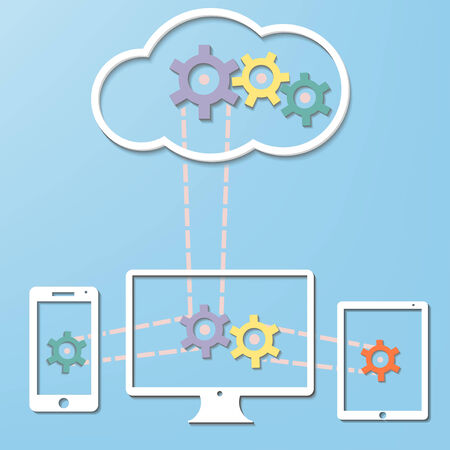 Cloud Computer Internet Technology concept with Computer and Smart Phone and Tablet PC  connection in vector
