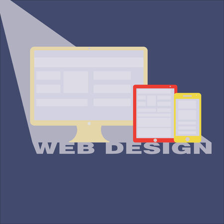 Web Design concept with Computer Technology and Smart Phone with Tablet PC screen showing interface in vector