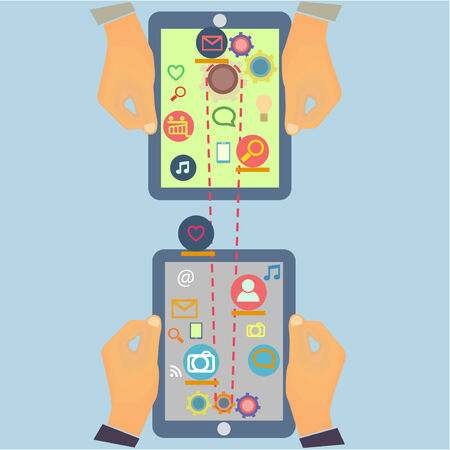 Social Media connection Computer Technology design with multimedia icons set and Tablet PC screen in hands in vector