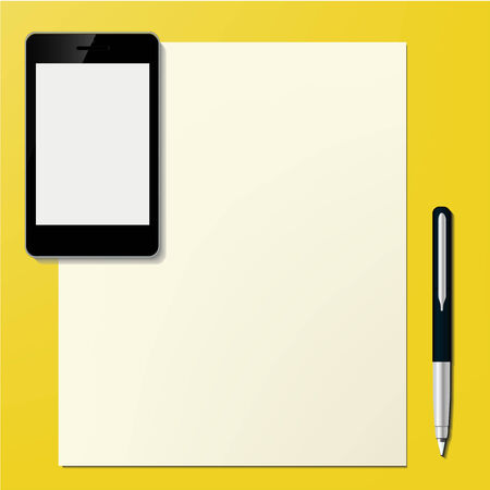 Mobile Smart Phone with paper sheet and pen Office desktop Computer Technology concept in vector Illustration