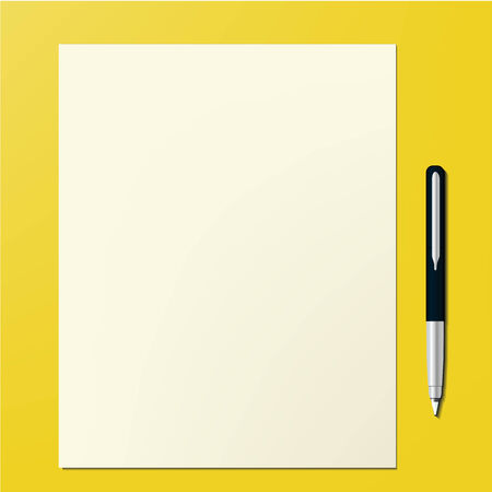 Paper Page and pen Office desktop design template background in vector