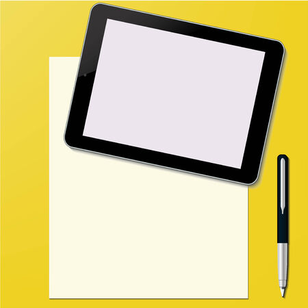 Tablet PC with paper sheet and pen Office desktop Computer Technology concept in vector Illustration