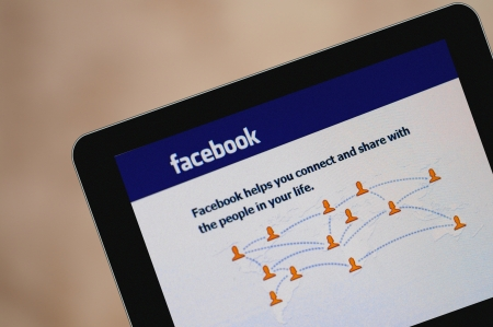 Facebook homepage on Tablet PC screen