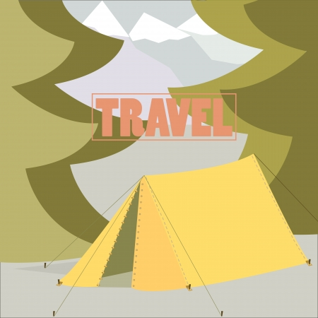 Tent Camping Traveling concept in vector flat design Illustration