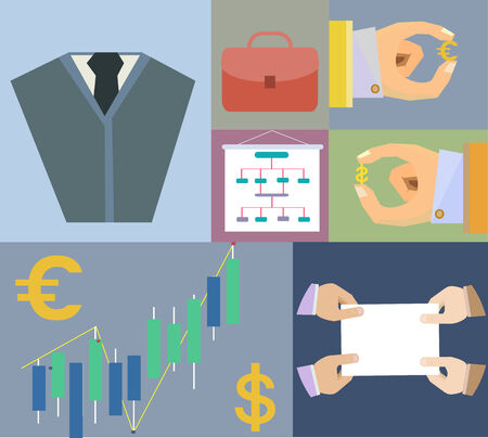 Flat Set icons finance and business agreement strategy concept in vector Vector