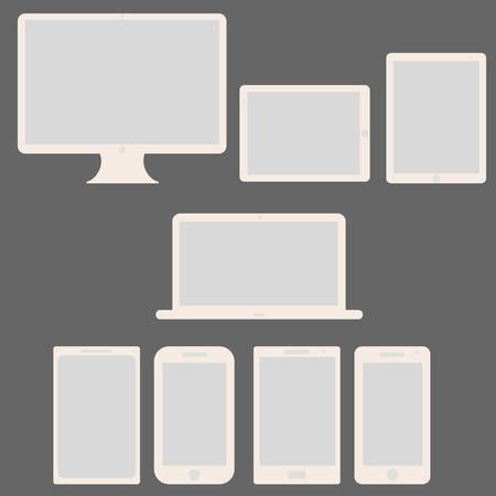 Modern blank Computer Technology Screen Set - Laptop, Tablet PC, Smart phone new Digital Technology flat design in vector Stock Vector - 25118324