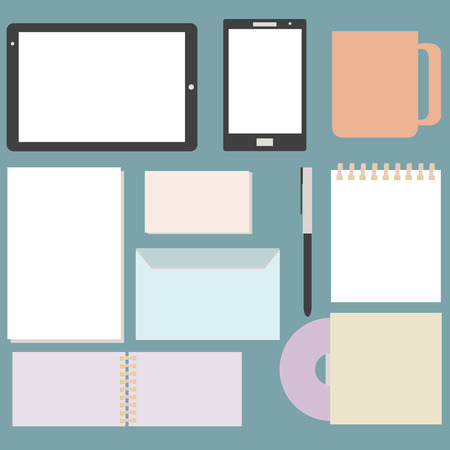 Blank Office objects set company presentation or branding identity with blank modern devices Screen Tablet PC and Smartphone in vector