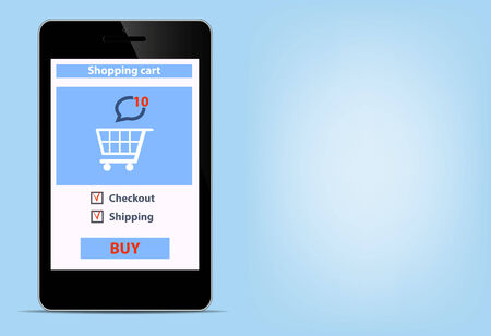 Online shopping with digital modern blank smartfon e-commerce shopping cart background illustration vector Illustration