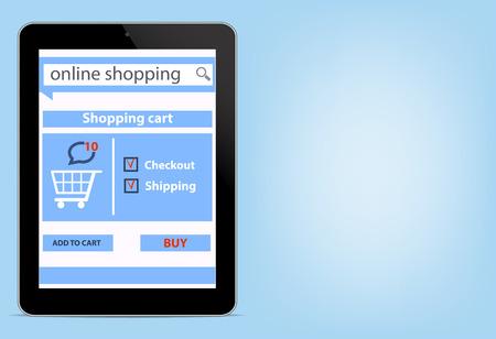 Online shopping with digital modern blank tablet smartfon e-commerce shopping cart background illustration