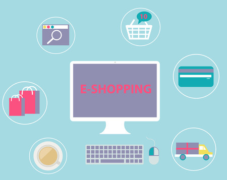 Online Shopping set concept e-commerce technology flat design with Computer Screen in vector Vector