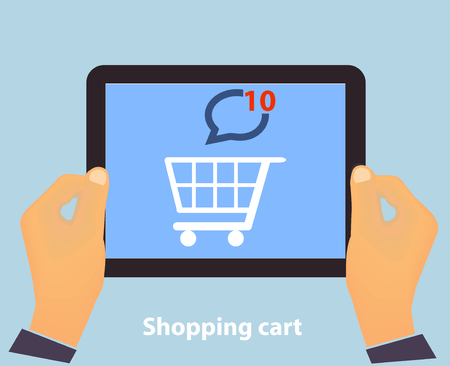 Hands holding Tablet PC screen showing on screen Shopping Cart Flat design Online Shopping concept and Computer Technology e-commerce concept in vector Illustration