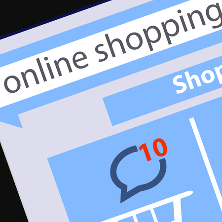 Online Shopping concept and Computer Technology e-commerce concept illustration