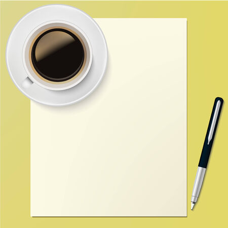 Blank Paper Page and pen with coffe cup Office desktop design template background in vector