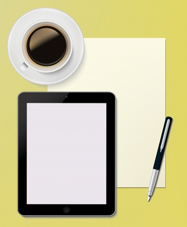 Tablet PC with paper sheet and pen Office desktop Computer Technology concept and cup of coffee on the desk in vector