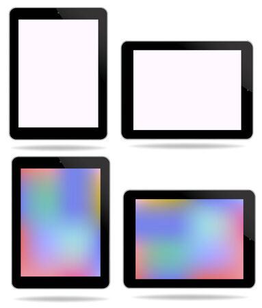 Computer Technology Smart Phone and Tablet PC Screen Set Illustration isolated on white background in vector