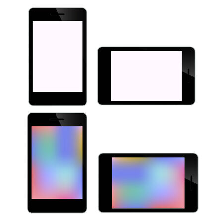 Mobile Technology Smart Phone Screen Set Illustration isolated on white background in vector