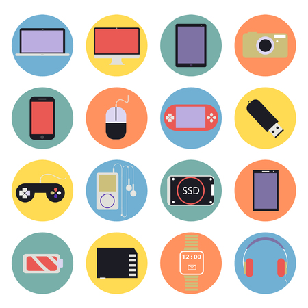New Technology digital multimedia Icons Set flat design vector
