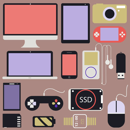 hard drive: Gadget and Other Electronics flat design in Vector Illustration