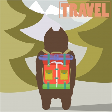 Travel concept vector illustration with Hiker Bear traveler with backpack going to mountains back view trendy art design