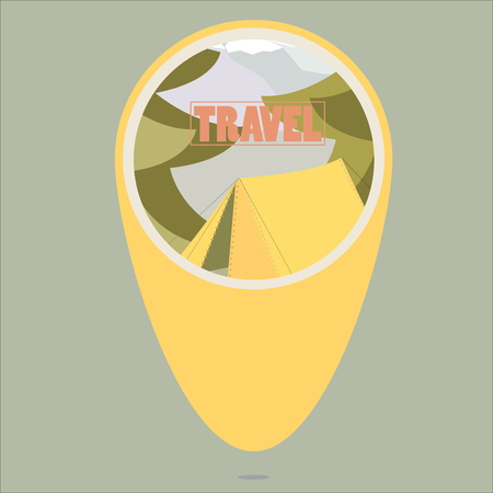 Pin Pointer searching camp places for traveling with image of tent camping in round vector illustration Illustration