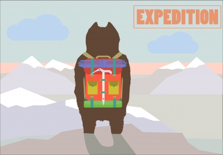 Travel Expedition concept vector illustration with Hiker Bear traveler with backpack standing on mountain summit back view trendy art design Illustration