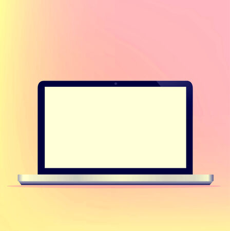 Modern blank Computer Technology Laptop Screen new Digital Technology design on white background illustration