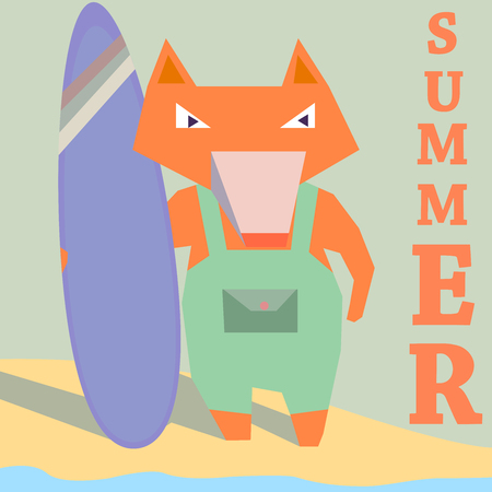 Fox surfer with board on beach seaside summer surfing sport recreation  flat vector illustration