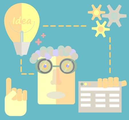 development process: Freelancer character designer website creating development process Illustration
