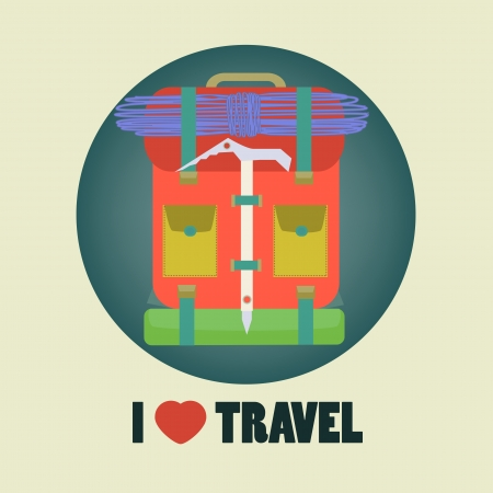 I love travel icon flat design with backpack in round illustration in vector
